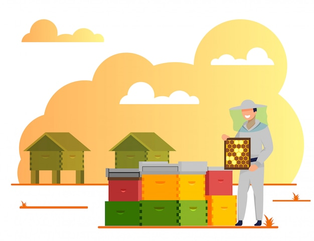 Apicultor trabalhando no apiário, indústria de apicultura Vetor Premium