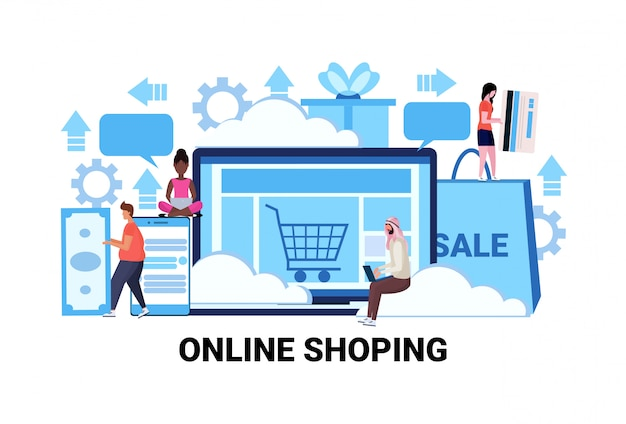 Aplicação de computador conceito de compras online temporada vendas comércio eletrônico Vetor Premium