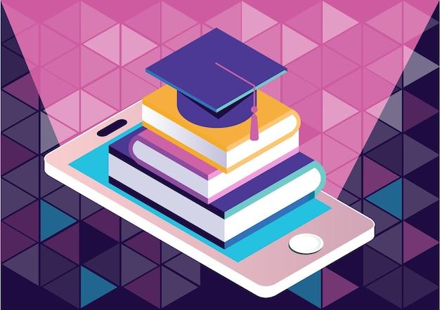 Aplicação de e-learning ou biblioteca, conceito de cursos on-line Vetor Premium