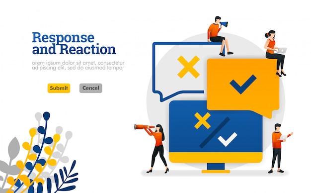 Aplicação de processamento de resposta e reação de comentários do usuário para ilustração vetorial de produtos Vetor Premium