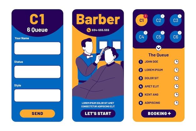 Aplicação de reserva de barbearia Vetor grátis
