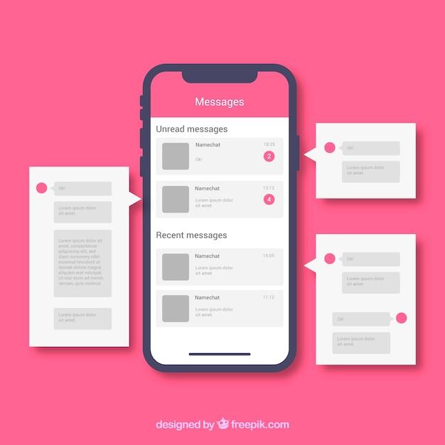 Aplicação messenger para conversar em estilo flat Vetor grátis