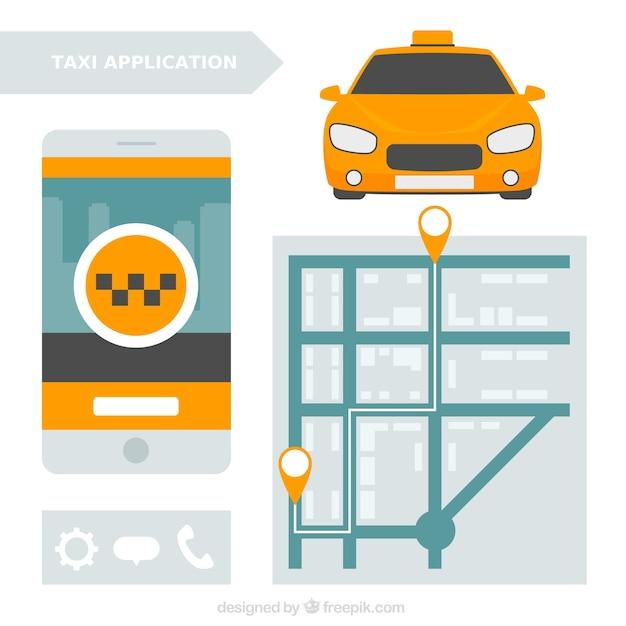 Aplicação móvel com um mapa para serviço de táxi Vetor grátis