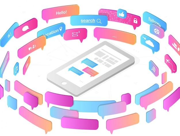 Aplicações móveis e conceito de redes sociais Vetor Premium