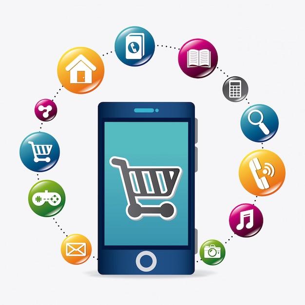 Aplicações móveis e design de ícones de tecnologia. Vetor Premium