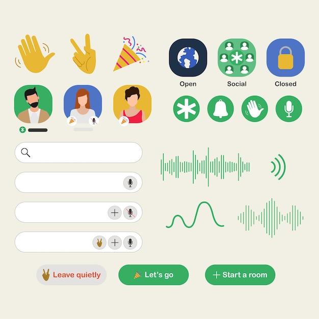 Aplicativo clubhouse para aplicação de bate-papo com áudio no smartphone. Vetor grátis
