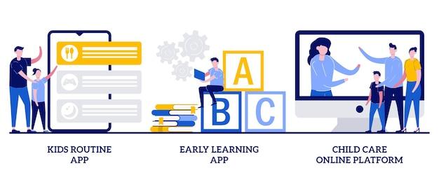 Aplicativo de aprendizagem precoce, conceito de plataforma on-line de creche com ilustração de pessoas pequenas Vetor Premium