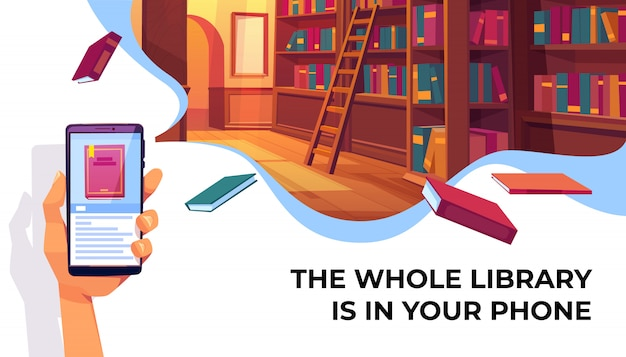 Aplicativo de biblioteca on-line para leitura de banner Vetor grátis