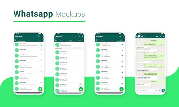 Aplicativo de compartilhamento de massagem de bate-papo do whatsapp ui mockup Vetor Premium