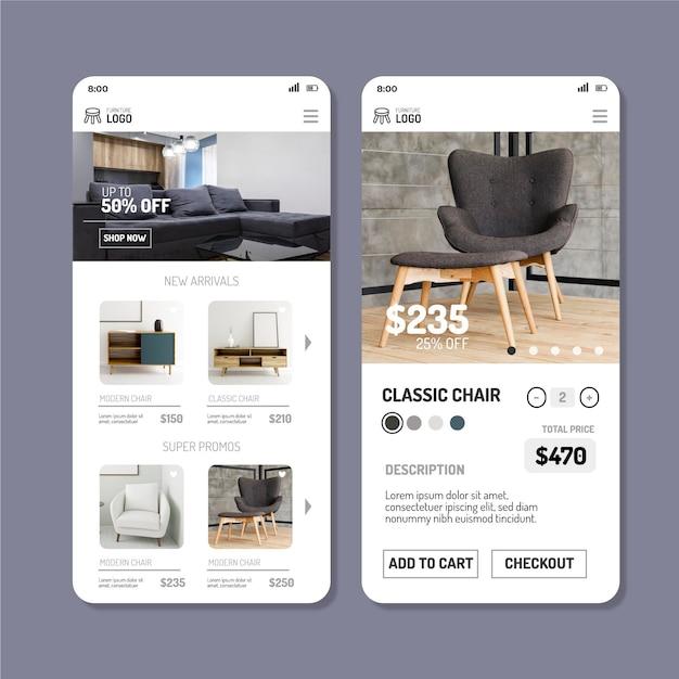 Aplicativo de compras de móveis Vetor grátis