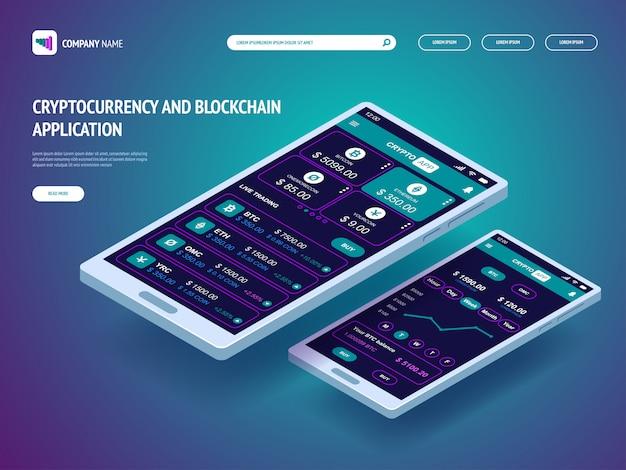 Aplicativo de criptomoeda e blockchain para smartphone. modelo de cabeçalho para o seu site. página de destino. Vetor Premium