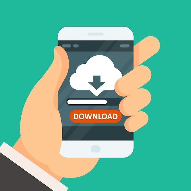 Aplicativo de download de computação em nuvem no smartphone com barra de progresso Vetor Premium