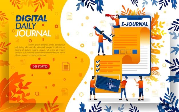 Aplicativo de ilustração móvel para diários diários ou blogs para jornalismo Vetor Premium