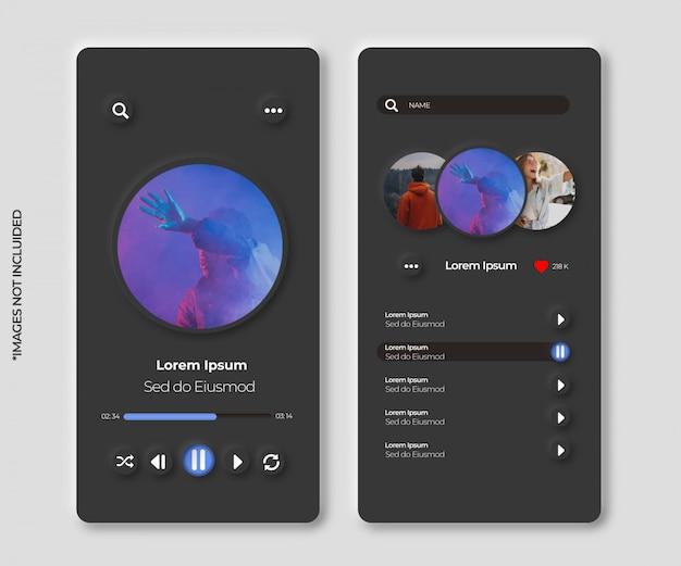 Aplicativo de música com interface neumórfica para smartphone Vetor grátis