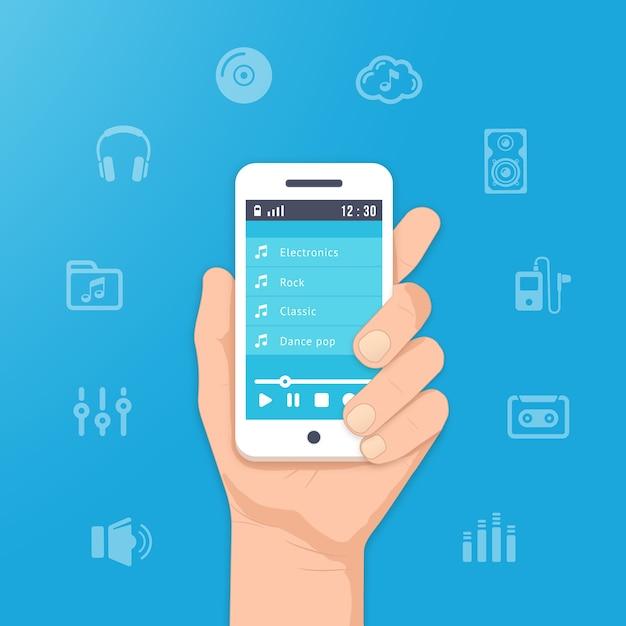 Aplicativo de música em seu smartphone. tocar música na mão ilustração Vetor grátis