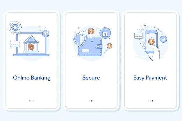 Aplicativo de pagamentos on-line para aplicativos para dispositivos móveis Vetor Premium