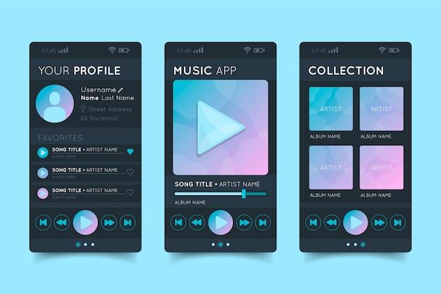 Aplicativo de player de música para músicas e artistas Vetor grátis