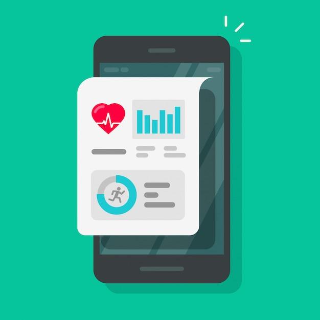 Aplicativo de rastreador de saúde ou fitness no celular cartoon plana Vetor Premium