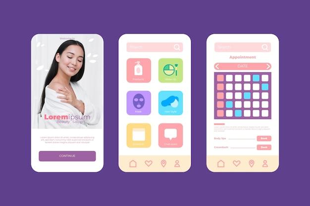 Aplicativo de reserva de salão de beleza com foto Vetor grátis