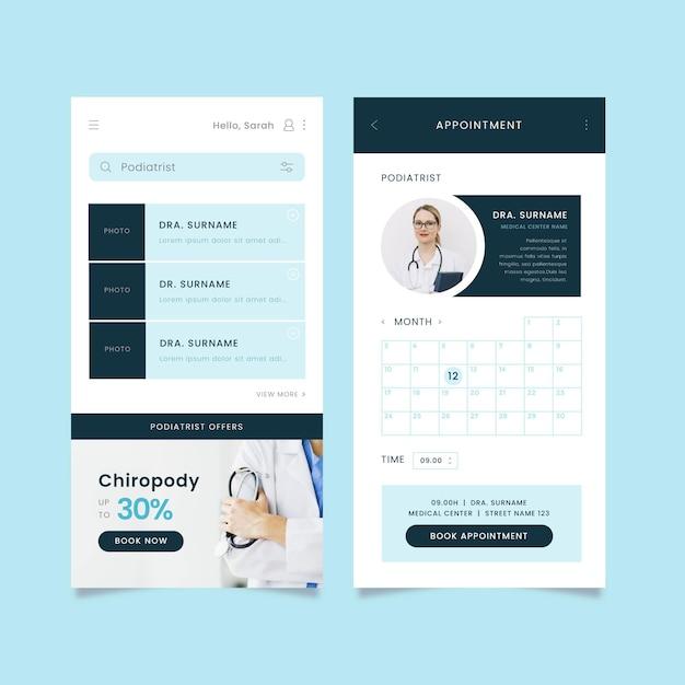 Aplicativo de reserva médica com foto Vetor grátis