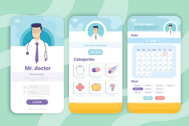 Aplicativo de reserva médica Vetor Premium