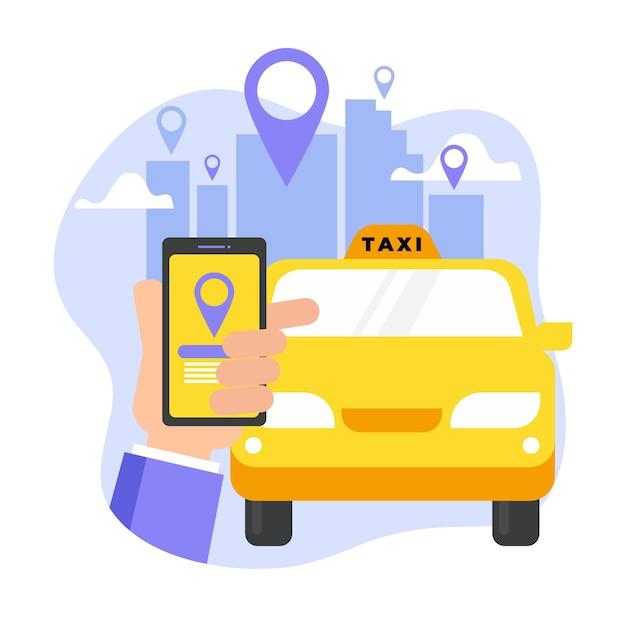 Aplicativo de táxi e mão com smartphone Vetor grátis