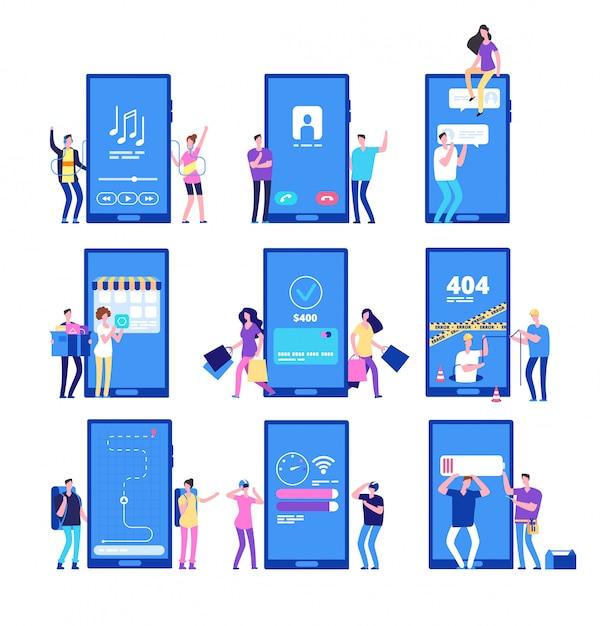 Aplicativo de telefone e pessoas. pequenos caracteres planos interagem com o conjunto de aplicativos do smartphone Vetor Premium