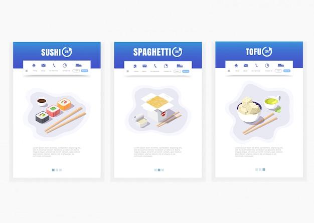 Aplicativo de telefone, serviço de entrega de comida asiática, sushi, espaguete, tofu, 24 horas, gráficos de entrega isométrica de comida Vetor Premium
