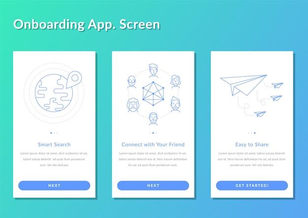 Aplicativo de walk-up de tela de onboarding registrar ilustração em vetor splashscreen Vetor Premium