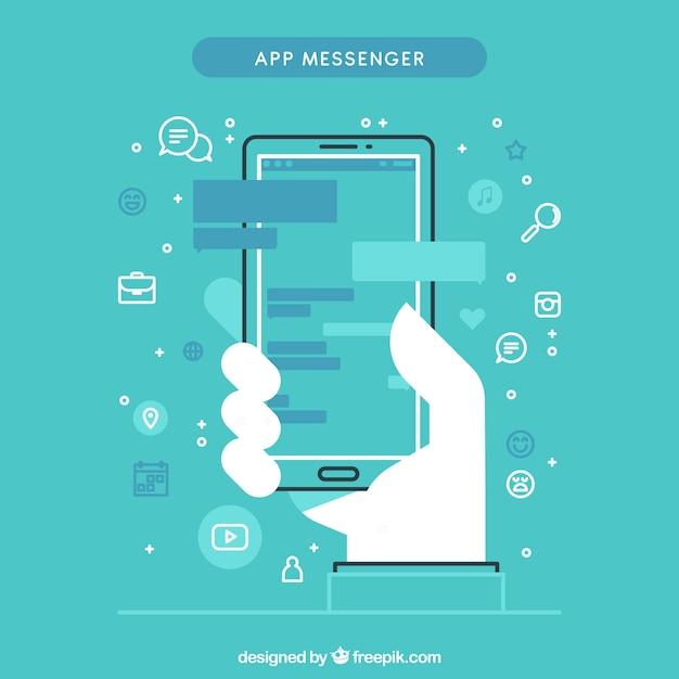 Aplicativo messenger para celular em estilo plano Vetor grátis