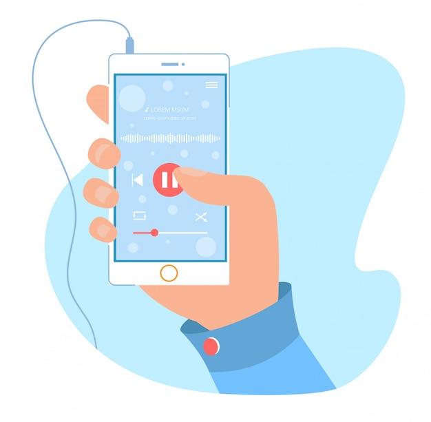 Aplicativo moderno de reprodutor de áudio para celular Vetor Premium