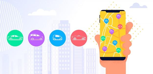 Aplicativo móvel de serviço carsharing. Vetor Premium