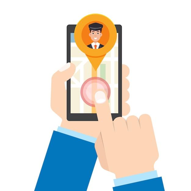 Aplicativo móvel de táxi. mão de homem segura smartphone. Vetor Premium