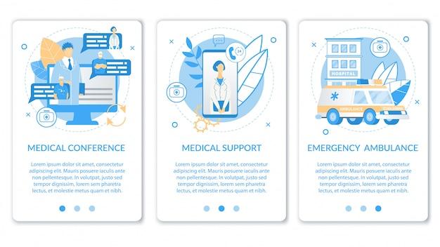 Aplicativo móvel plano definido para atendimento médico Vetor Premium