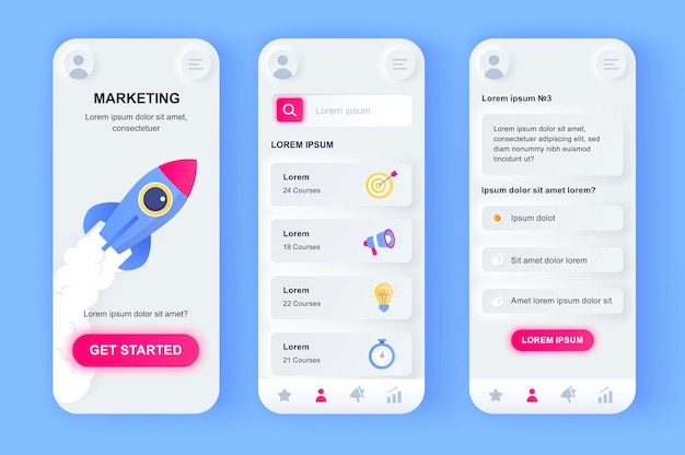 Aplicativo para dispositivos móveis de interface do usuário de marketing digital moderno Vetor Premium