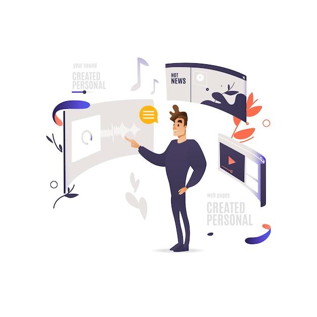 Aplicativos móveis e conceito de design de sites. homem que está perto da tela digital do dispositivo com as janelas dos web site com media e índice social. Vetor Premium