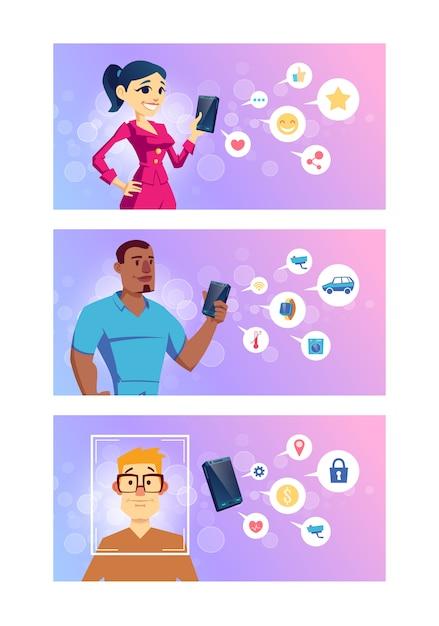 Aplicativos para smartphones para redes sociais, tecnologias inteligentes, serviços bancários on-line e desenhos animados de navegação Vetor grátis