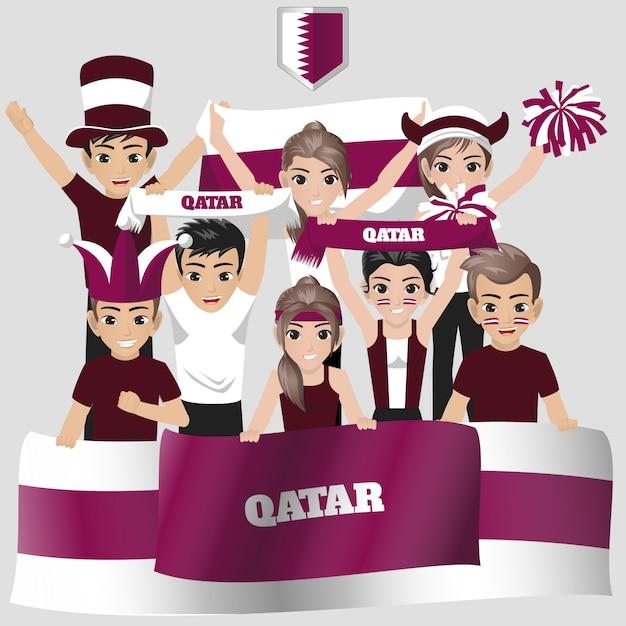 Apoiador da seleção nacional de futebol do qatar pela competição americana Vetor Premium