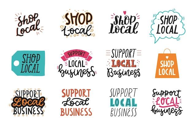 Apoie a coleção de letras de empresas locais Vetor grátis