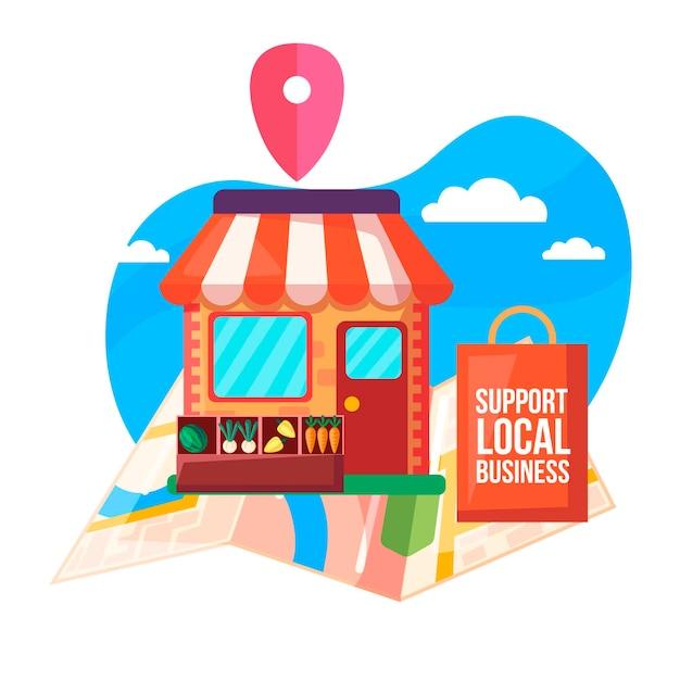 Apoie o conceito de negócio local com ilustração de mercado Vetor Premium
