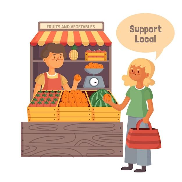 Apoie o conceito de negócio local com o mercado Vetor Premium