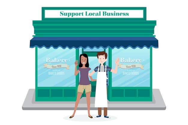 Apoie o conceito de negócio local Vetor grátis