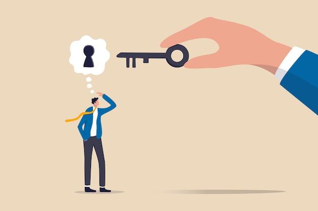 Apoio comercial ou ajuda para resolver problemas, limpar e desbloquear obstáculo de trabalho ou chave para desbloquear o conceito de ideia de negócio Vetor Premium