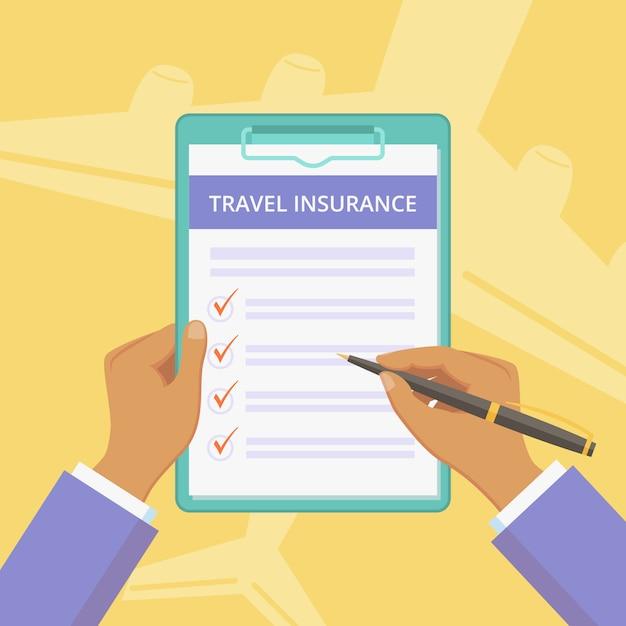 Apólice de seguro de viagem com prancheta Vetor Premium