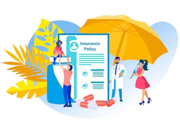 Apólice de seguro médico de ilustração vetorial. Vetor Premium