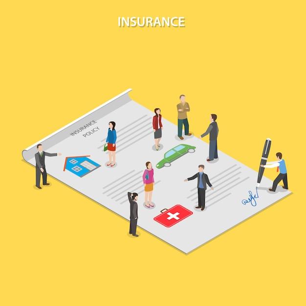 Apólice de seguro plano isométrico. Vetor Premium
