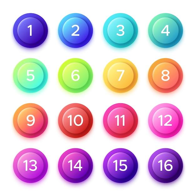 Apontando o número no botão de bala de gradiente. Vetor Premium
