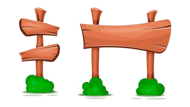 Apontando sinais, ponteiros, ponteiros de madeira Vetor Premium