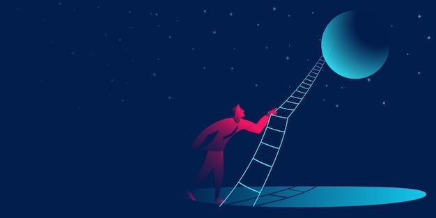 Aponte para a lua. sucesso, negócio de viagem de empresário Vetor Premium