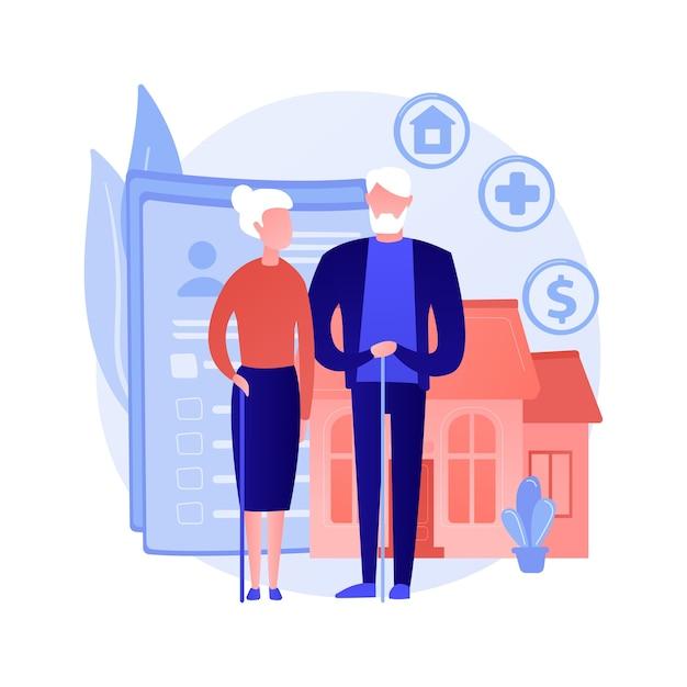 Aposentadoria e gestão patrimonial. seguro saúde, escolha de moradia, benefícios financeiros. casal de idosos, plano de poupança de adultos sênior. Vetor grátis